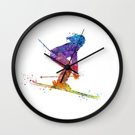 Girl Skiing 2 Colorful Watercolor Winter Sports Art Wall Clock