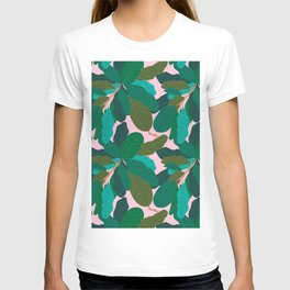 Tropicana Banana Leaves in Classic Pink T-shirt