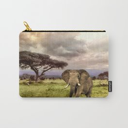 Elephant Landscape Collage Carry-All Pouch