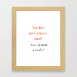 Shoe Convo - Typography Print Framed Art Print