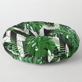 Geometrical green black white tropical monster leaves Floor Pillow