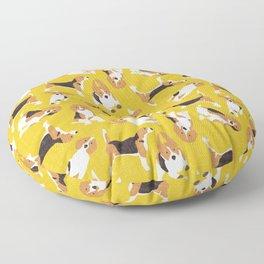 beagle scatter yellow Floor Pillow