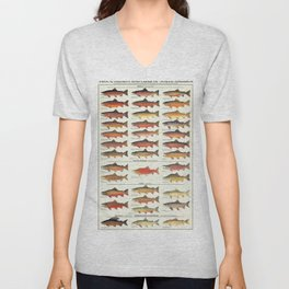Illustrated Trout, Salmon and Char Fishing Identification Chart of North America Unisex V-Neck