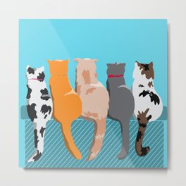 The Cat Gang (blue background) Metal Print