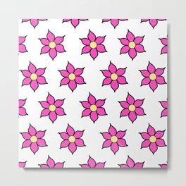 Pink Fluro Flowers Metal Print