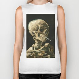 Van Gogh Head of a skeleton with a burning cigarette Biker Tank