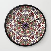 deco Wall Clocks featuring Deco Floral by Paula Belle Flores