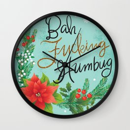 Pretty Sweary Holidays: Bah Humbug Wall Clock