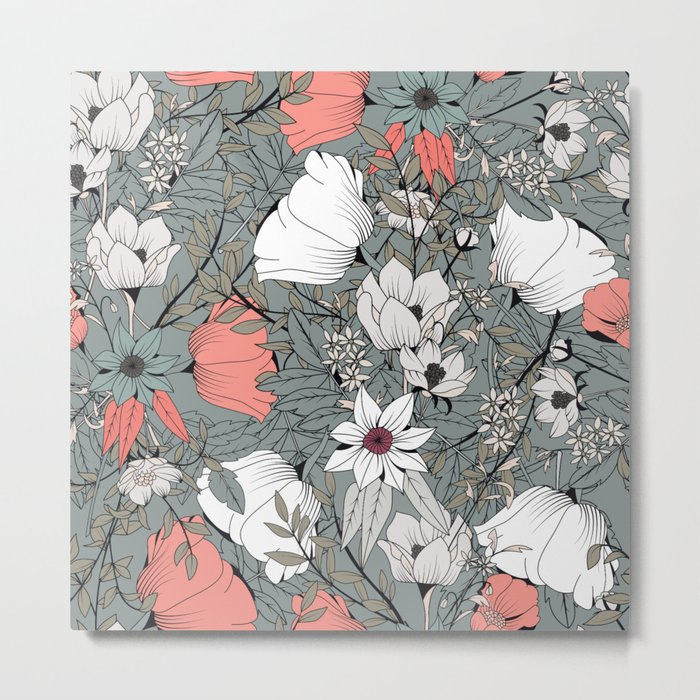 Seamless pattern design with hand drawn flowers and floral elements Metal Print