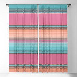 Traditional Mexican Serape in Teal Sheer Curtain