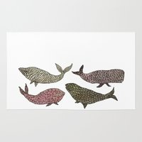whales Area & Throw Rugs featuring Whales by Saara Kaa