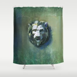 Lion Head Green Marble Shower Curtain