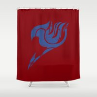 fairy tail Shower Curtains featuring Fairy Tail Segmented Logo Erza by JoshBeck