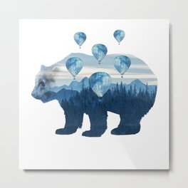 Misty Forest Bear - Hot Air Balloons Metal Print