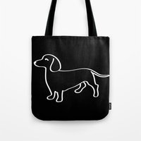 daschund Tote Bags featuring Doxie Love White by WhyitsmeDesign