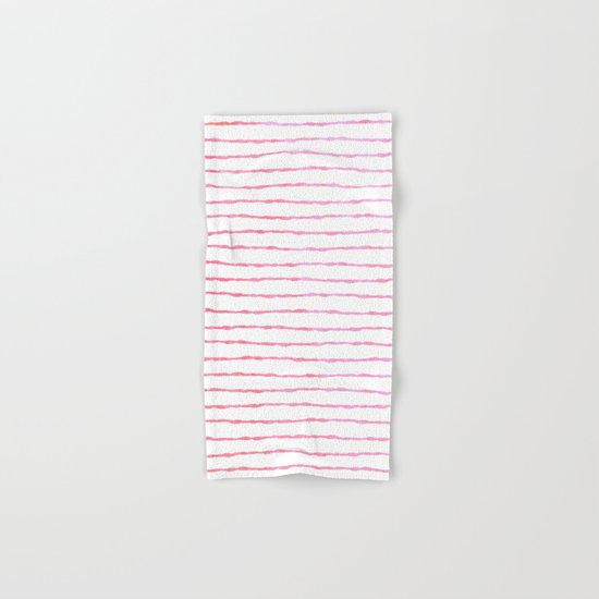 fine pink handpainted stripes on clear white Hand & Bath Towel