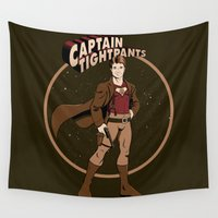 captain silva Wall Tapestries featuring Captain Tightpants by Mandrie