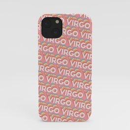 Virgo Trendy Rainbow Text Pattern (Pink) iPhone Case