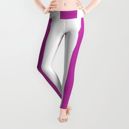 Byzantine fuchsia - solid color - white vertical lines pattern Leggings
