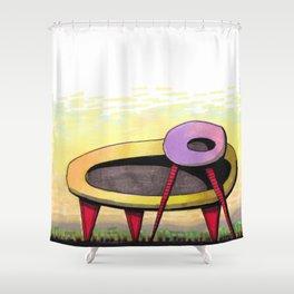 Retro Spaceship Architectural Design 55 Shower Curtain