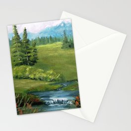 Mountain Stream and Meadow Stationery Cards