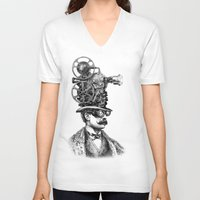 antique V-neck T-shirts featuring The Projectionist (colour option) by Eric Fan