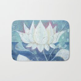 Abstract Lotus Art Acrylic Painting Reproduction by Kimberly Schulz Bath Mat