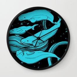 Beluga Whale Pod (Blue Variant) Wall Clock
