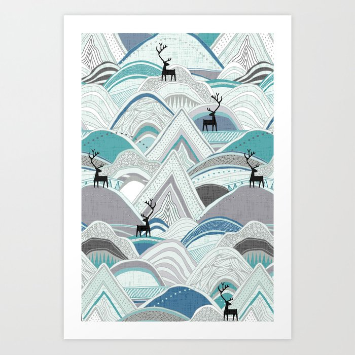caribou mountains blue Kunstdrucke