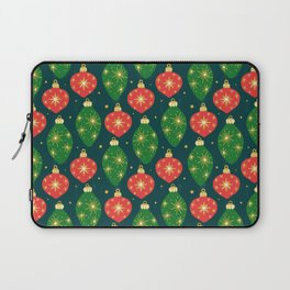 Vintage Festive Hand-painted Christmas Tree Ornaments with Beautiful Acrylic Texture on Dark Teal Color Laptop Sleeve