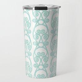 Crackled Scrolled Ikat Pattern - White Blue Travel Mug