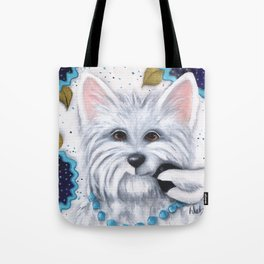 Westie Chickadee Garden Original Art Tote Bag
