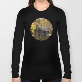 Smoky Mountain Rural Rustic Cabin Autumn View Long Sleeve T-shirt
