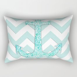 Sail with Me | Glitter nautical anchor, teal blue chevron pattern Rectangular Pillow
