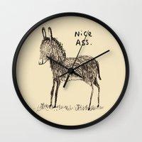 ass Wall Clocks featuring Nice Ass by Sophie Corrigan