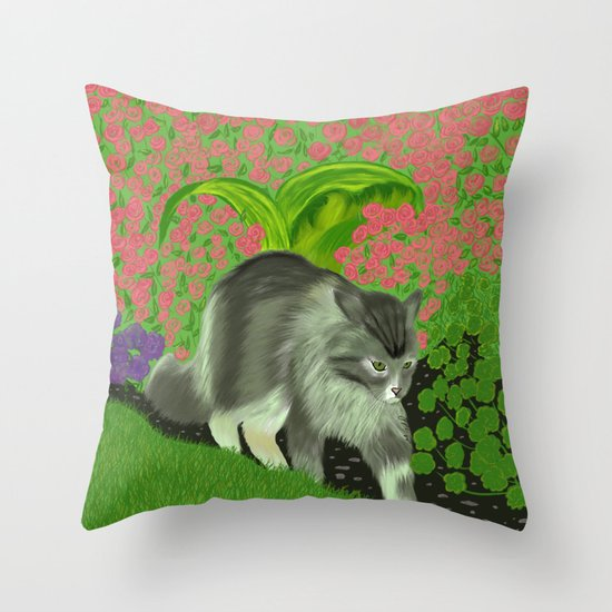 Cat In The Garden Throw Pillow