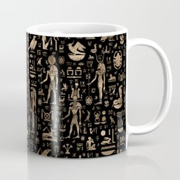 Ancient Egyptian Gods and hieroglyphs - Black and gold Coffee Mug