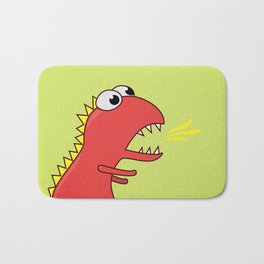 Cute Cartoon Dinosaur With Fire Breath Bath Mat