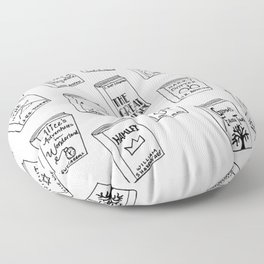 Bibliophilia (Titles) Floor Pillow