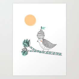 Adventure cake bird Art Print