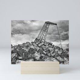 Crane with scrap metal Mini Art Print