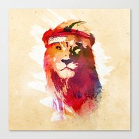 gym Canvas Prints featuring Gym Lion by Robert Farkas