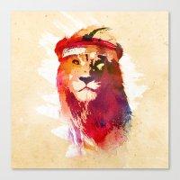 lion Canvas Prints featuring Gym Lion by Robert Farkas