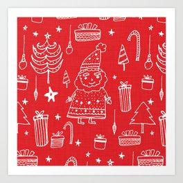 Santa Workshop Red Art Print