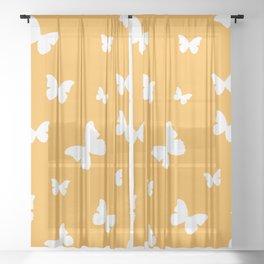 Butterflies - Fresh Orange Sheer Curtain