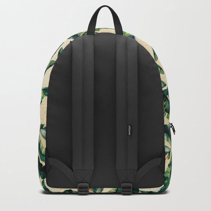 Banana Leaf Pattern Linen Backpack