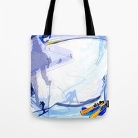 skiing Tote Bags featuring Downhill Skiing by Robin Curtiss