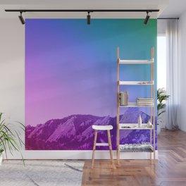 Boulder Colorado Flatirons Decor \\ Chautauqua Park Purple Pink Blue Green Nature Bohemian Style Art Wall Mural