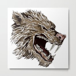 Head with fangs,white lines,stylize Metal Print
