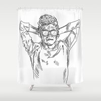 niall horan Shower Curtains featuring niall horan sketch by jessiicaas